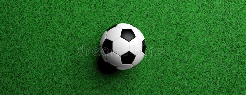 橄榄球、足球、白色和黑色在绿色草坪,3d例证 库存例证