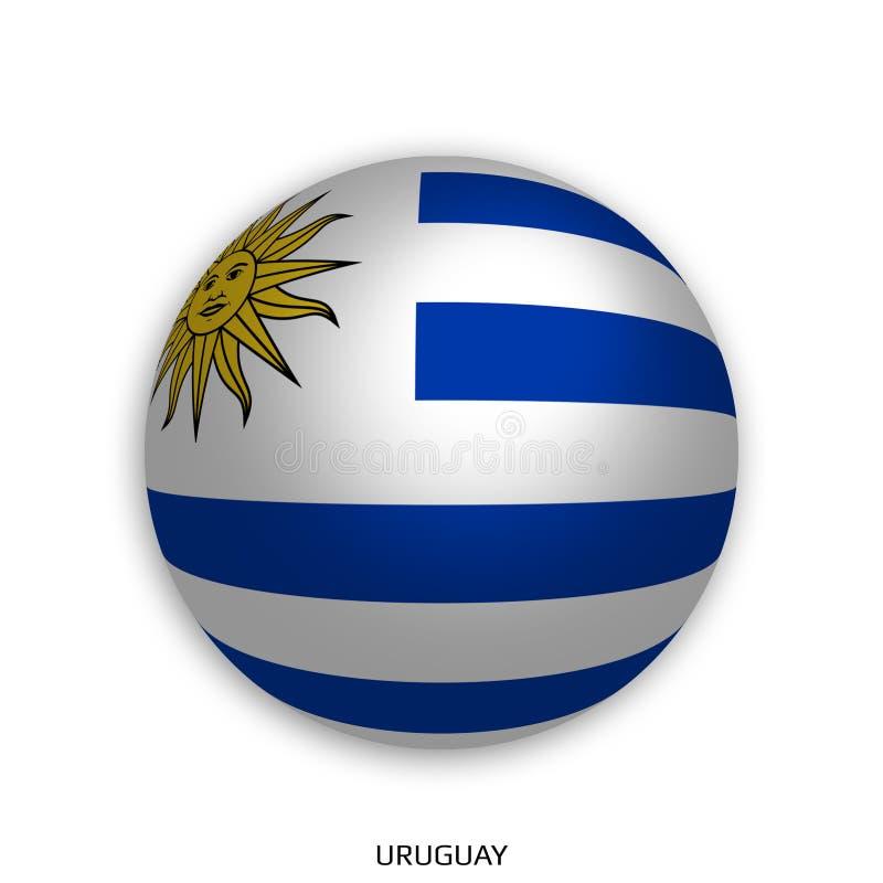 橄榄球与乌拉圭旗子的世界冠军做了在周围当足球-投下阴影和隔绝在白色 库存例证