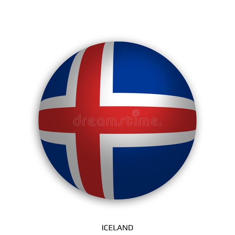 橄榄球与冰岛旗子的世界冠军做了在周围当足球-投下阴影和隔绝在白色 皇族释放例证