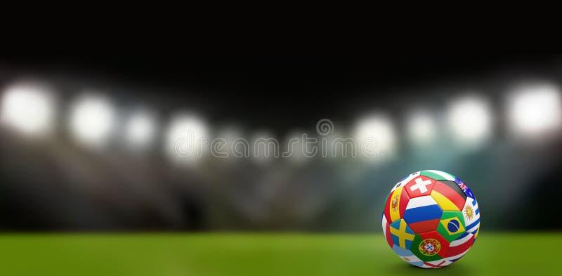 橄榄球与各种各样的国家3d翻译的足球 向量例证