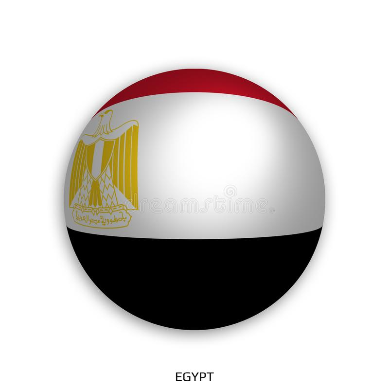 橄榄球与埃及旗子的世界冠军做了在周围当足球-投下阴影和隔绝在白色 库存例证