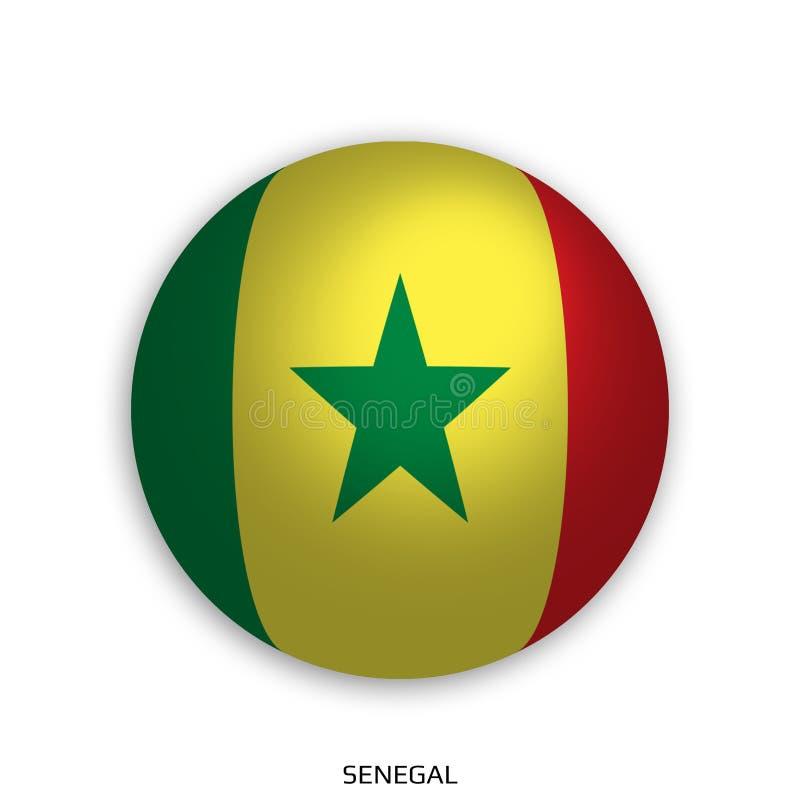 橄榄球与塞内加尔旗子的世界冠军做了在周围当足球-投下阴影和隔绝在白色 皇族释放例证