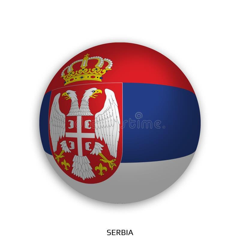 橄榄球与塞尔维亚旗子的世界冠军做了在周围当足球-投下阴影和隔绝在白色 库存例证