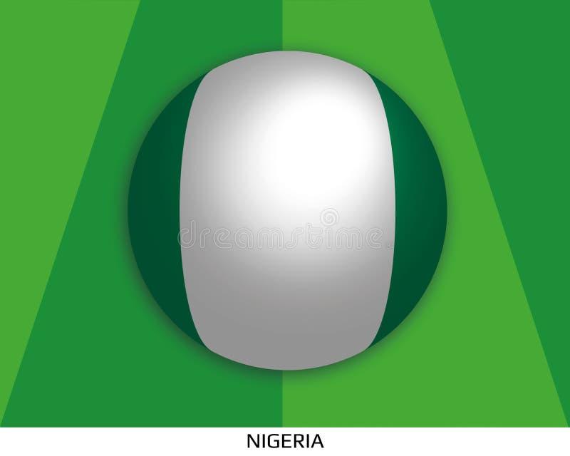 橄榄球与尼日利亚的旗子的世界冠军做了在周围当足球在一棵使用的草 皇族释放例证