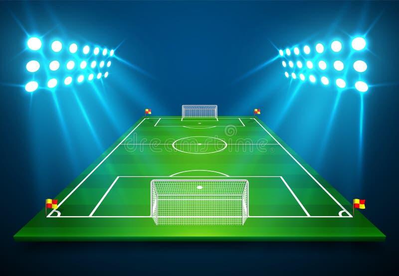 橄榄球与明亮的体育场的足球场的例证点燃发光对此 传染媒介EPS 10 复制的空间 库存例证