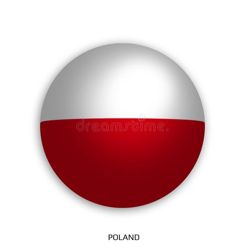 橄榄球与波兰旗子的世界冠军做了在周围当足球-投下阴影和隔绝在白色 向量例证