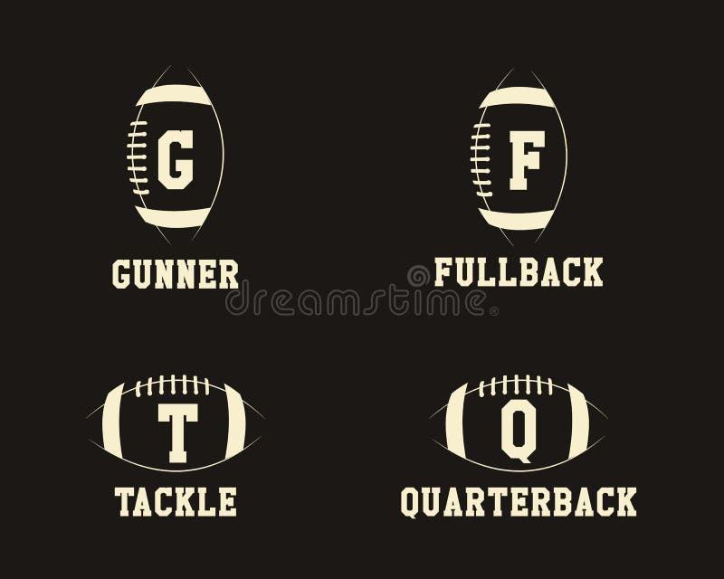橄榄球与球员的徽章组合图案 库存例证