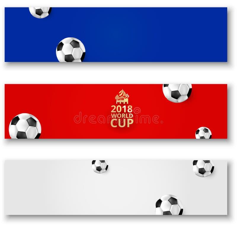 橄榄球与球的世界杯横幅在俄国旗子颜色 向量例证