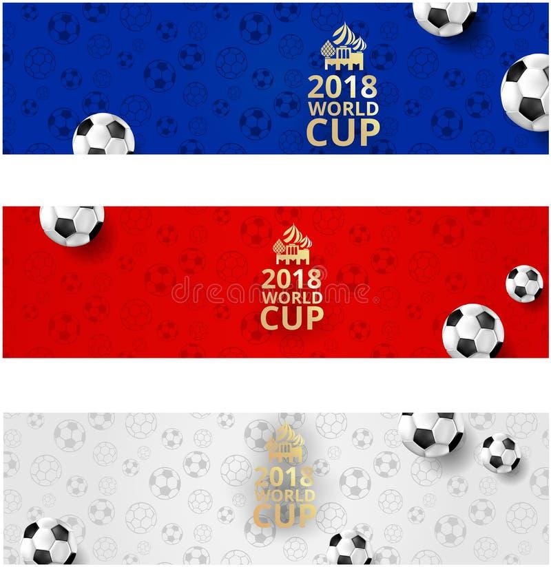 橄榄球与球的世界杯横幅在俄国旗子颜色 库存例证