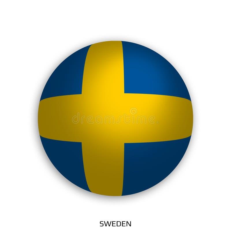 橄榄球与瑞典旗子的世界冠军做了在周围当足球-投下阴影和隔绝在白色 皇族释放例证