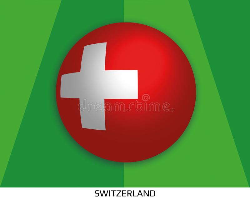 橄榄球与瑞士的旗子的世界冠军做了在周围当足球在一棵使用的草 向量例证