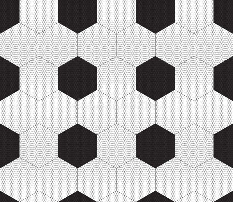 橄榄球与黑六角形的样式背景 抽象无缝的体育样式 r 库存例证