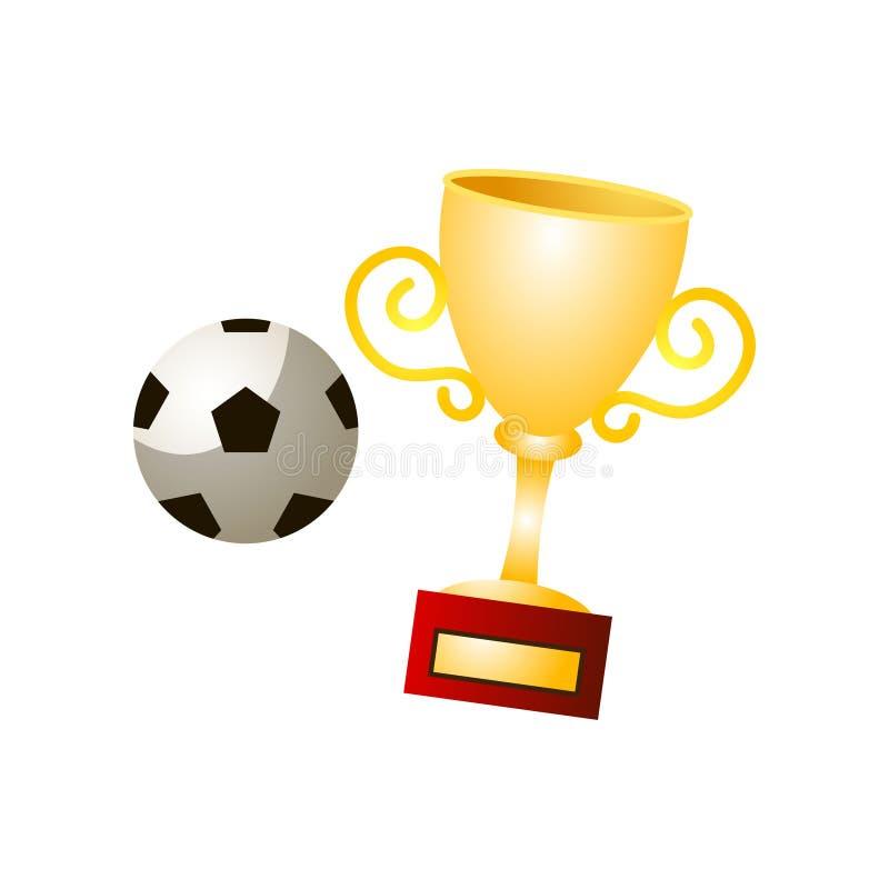 橄榄球世界有足球的,巴西优胜者金杯子 库存例证