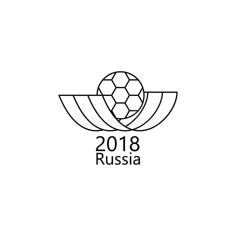 橄榄球世界杯俄罗斯象的商标 足球流动概念和网apps的世界杯的元素2018年 稀薄的线Th商标  皇族释放例证