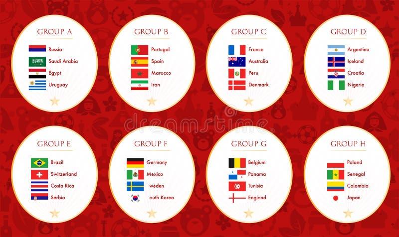 橄榄球世界杯俄罗斯2018个小组 收集标志查出的向量白色 向量例证