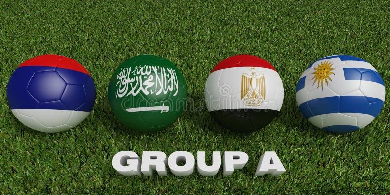 橄榄球世界杯编组a 2018年世界足球比赛 库存例证