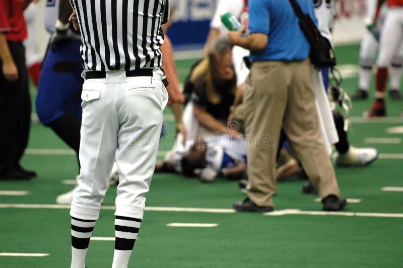 橄榄球伤害了球员 库存照片
