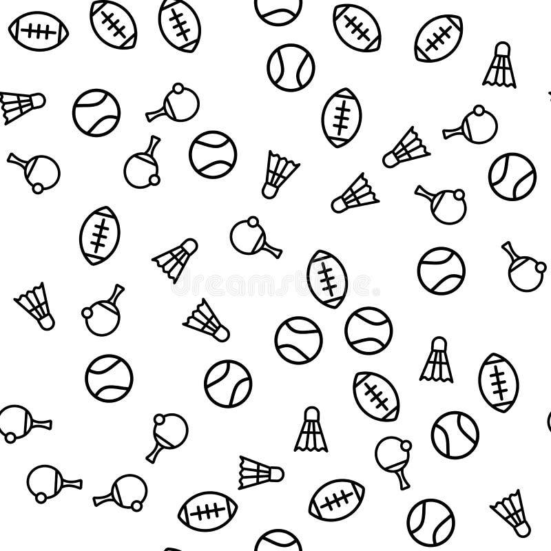 橄榄球体育元素无缝的样式印刷品 库存例证
