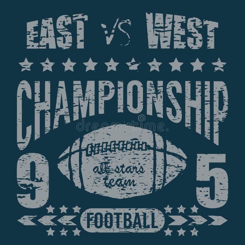 橄榄球体育印刷术, T恤杉打印设计图表,传染媒介海报,徽章补花标签 向量例证