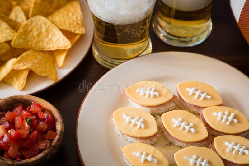 橄榄球党食物,超级杯天 免版税库存照片