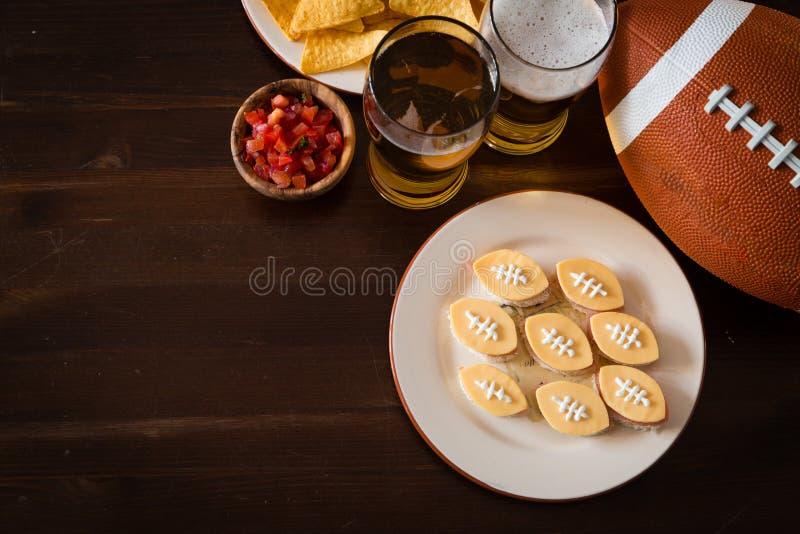 橄榄球党食物,超级杯天 免版税库存图片