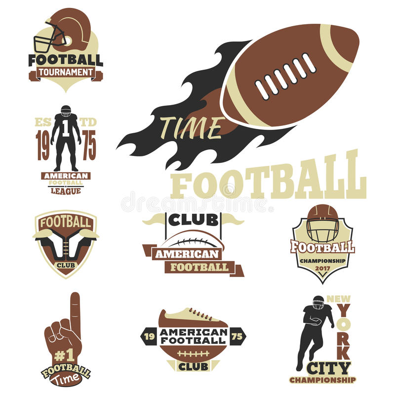 橄榄球冠军体育队的徽章模板与球商标竞争传染媒介 皇族释放例证