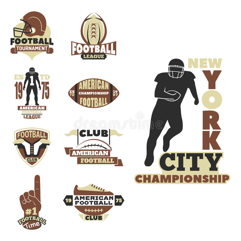 橄榄球冠军体育队的徽章模板与球商标竞争传染媒介 向量例证