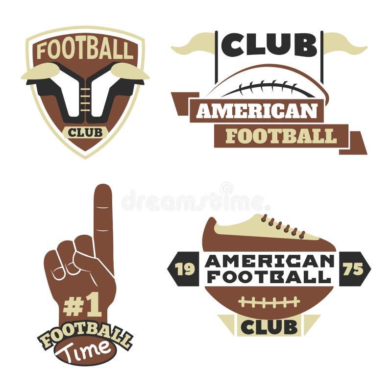 橄榄球冠军体育队的徽章模板与球商标竞争传染媒介 库存例证