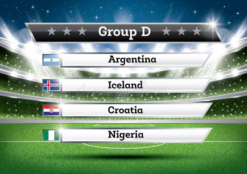 橄榄球冠军小组D 足球世界比赛 凹道Res 向量例证