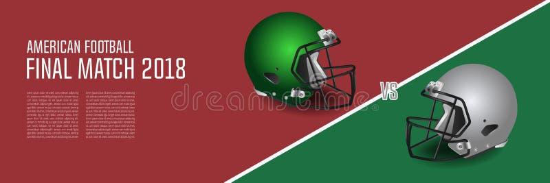 橄榄球决赛概念 银,绿色盔甲和 向量例证