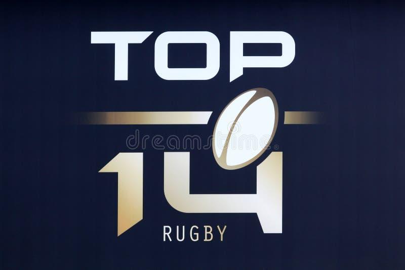 橄榄球名列前茅14的商标在法国 库存图片