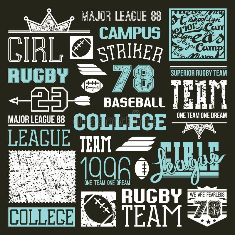 橄榄球和棒球学院队设计元素 库存例证
