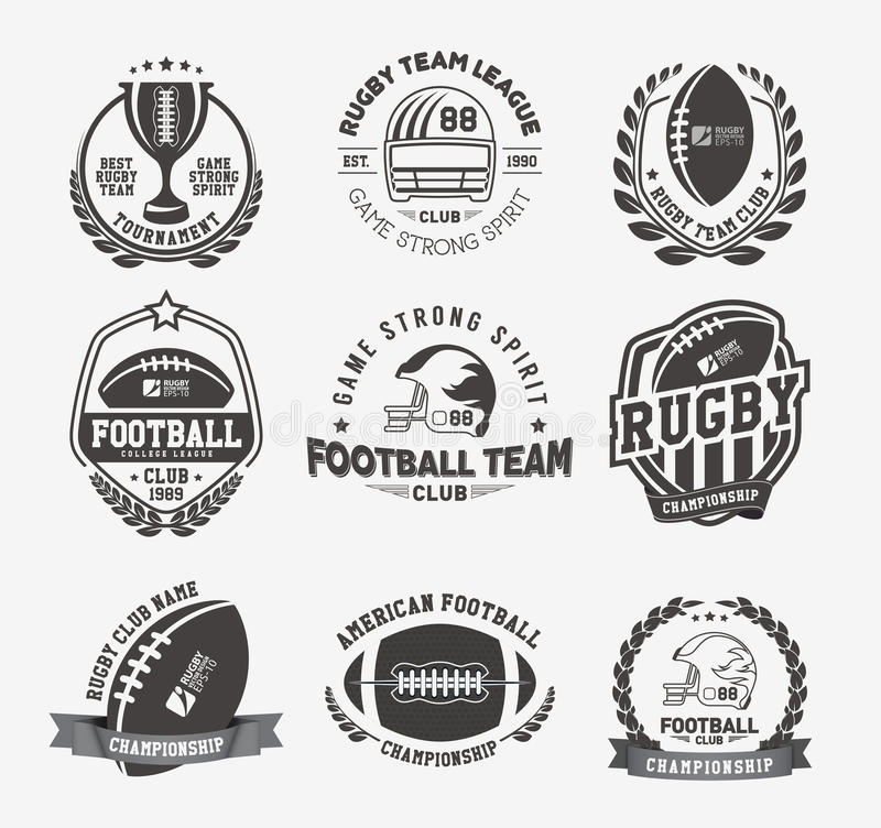 橄榄球商标传染媒介五颜六色的集合,橄榄球徽章商标模板 皇族释放例证