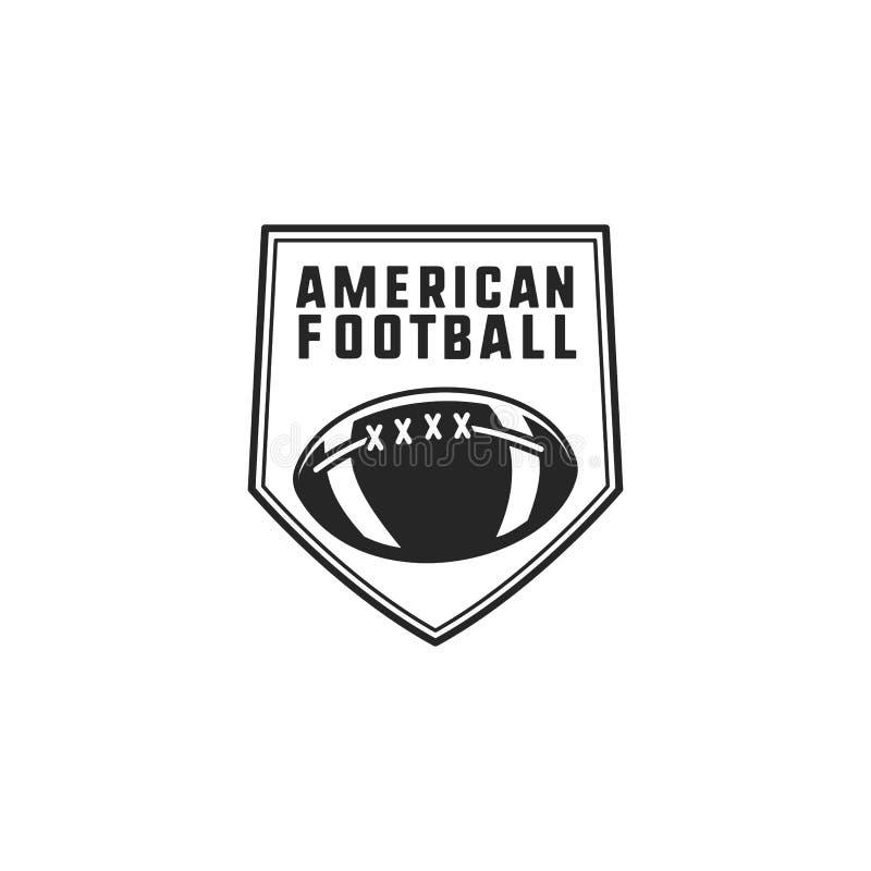 橄榄球商标象征 美国体育在剪影样式证章 与球的单色略写法设计 储蓄传染媒介 向量例证