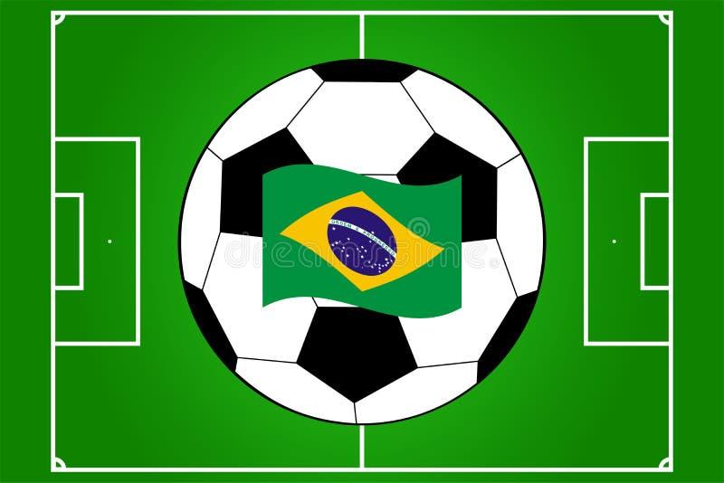 橄榄球场和球传染媒介与巴西的旗子 免版税库存图片