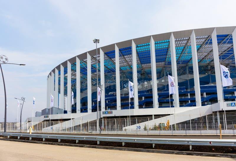 橄榄球场在下诺夫哥罗德准备好对国际足球联合会2018年在鲁斯 免版税库存照片