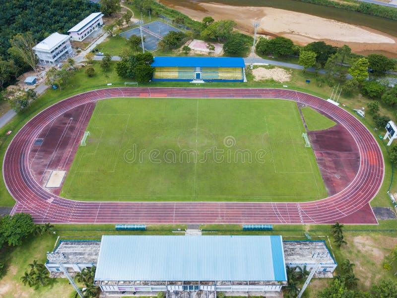 橄榄球场在田径运动体育场内 图库摄影