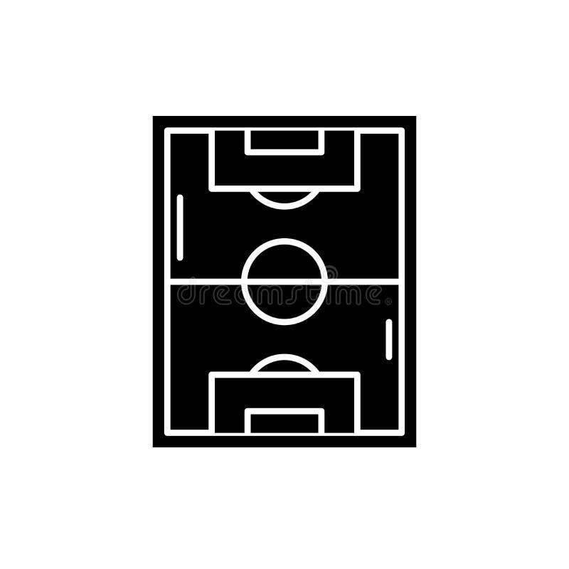 橄榄球场黑色象,在被隔绝的背景的传染媒介标志 橄榄球场概念标志,例证 向量例证