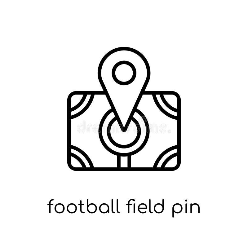 橄榄球场Pin象 时髦现代平的线性传染媒介Footba 向量例证