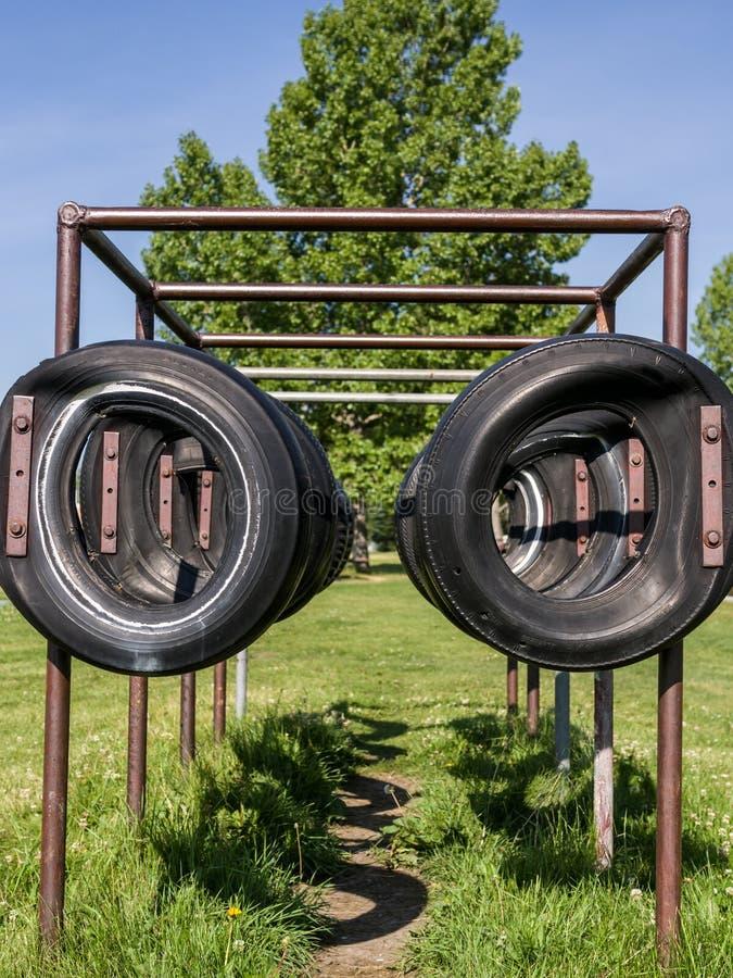 橄榄球培训轮胎 库存照片