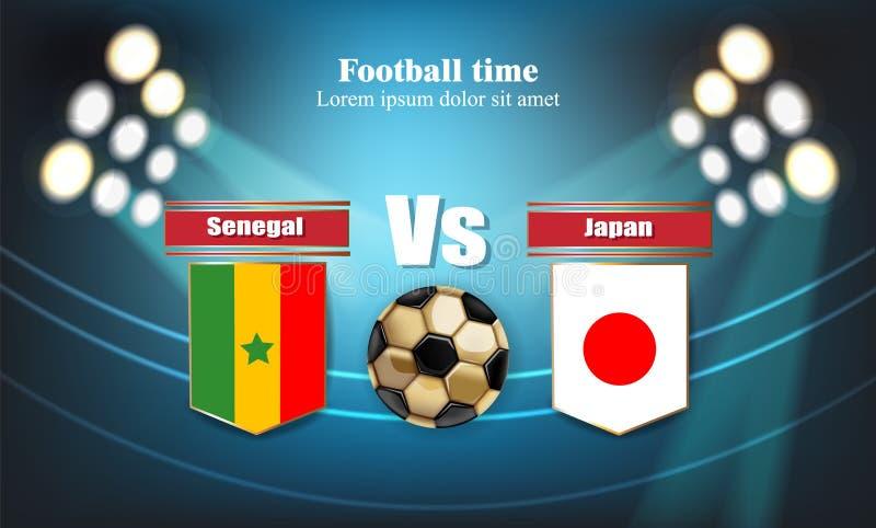 橄榄球委员会塞内加尔旗子对日本 2018年世界冠军模板比赛 合作足球国旗 蓝色红色 库存例证