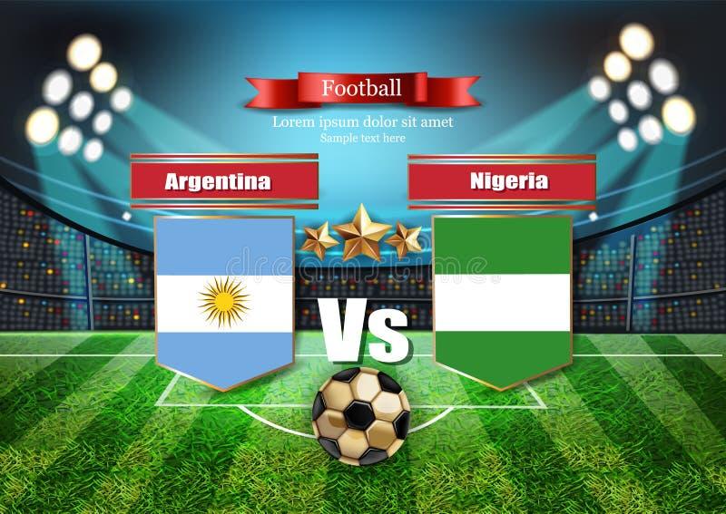 橄榄球委员会阿根廷旗子对尼日利亚 2018年世界冠军模板比赛 合作足球国旗 红色和 库存例证