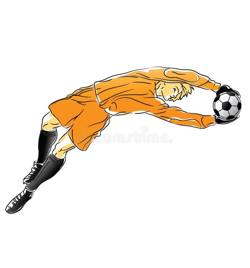 橄榄球守门员抓住球 向量例证