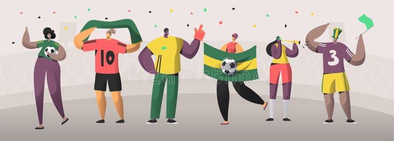 橄榄球巴西爱好者队集合例证 愉快的朋友庆祝巴西足球事件胜利 人妇女字符 皇族释放例证