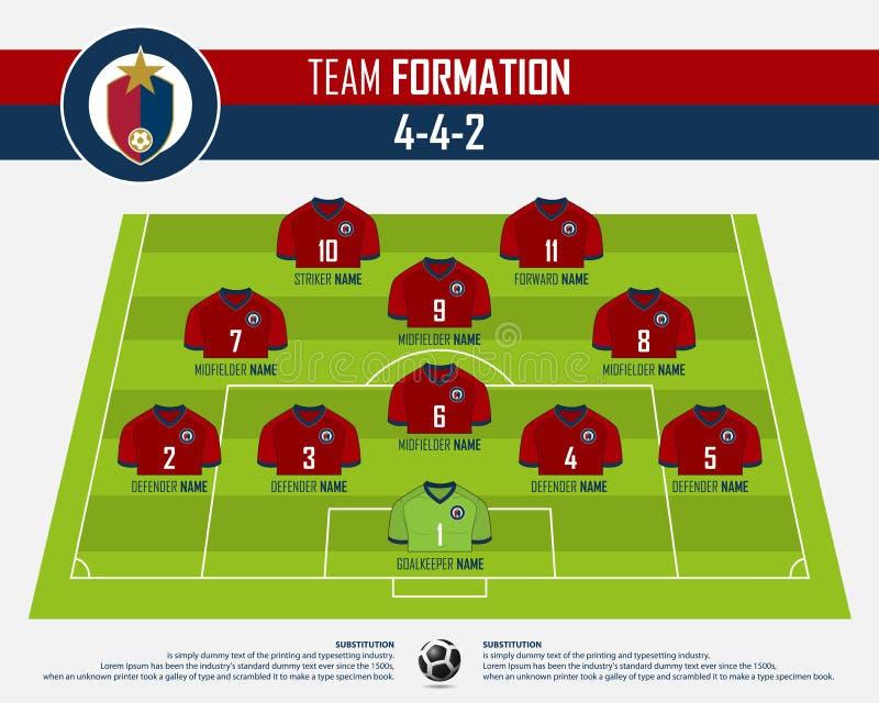 橄榄球或infographic足球比赛的形成 足球在橄榄球球场的球衣和足球运动员位置 平的橄榄球商标 库存例证