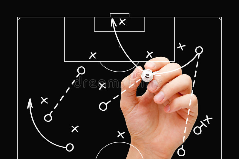 橄榄球教练比赛战术 库存图片