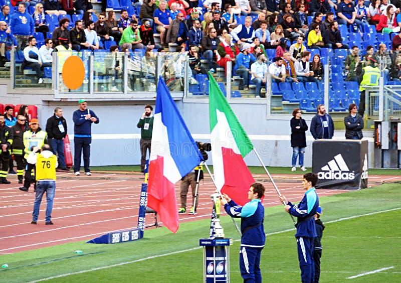 橄榄球旗子 库存照片