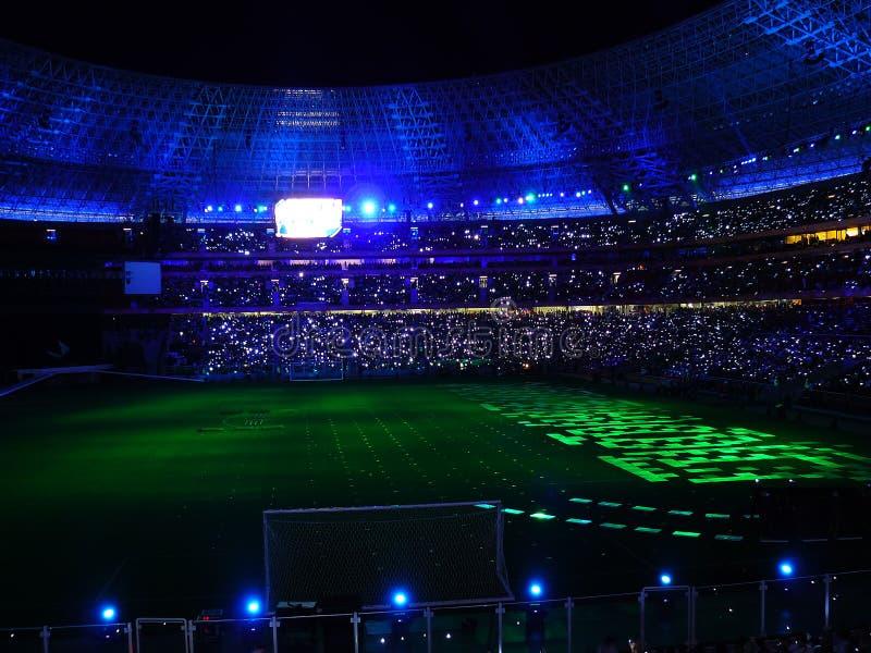 橄榄球晚上体育场 免版税库存照片