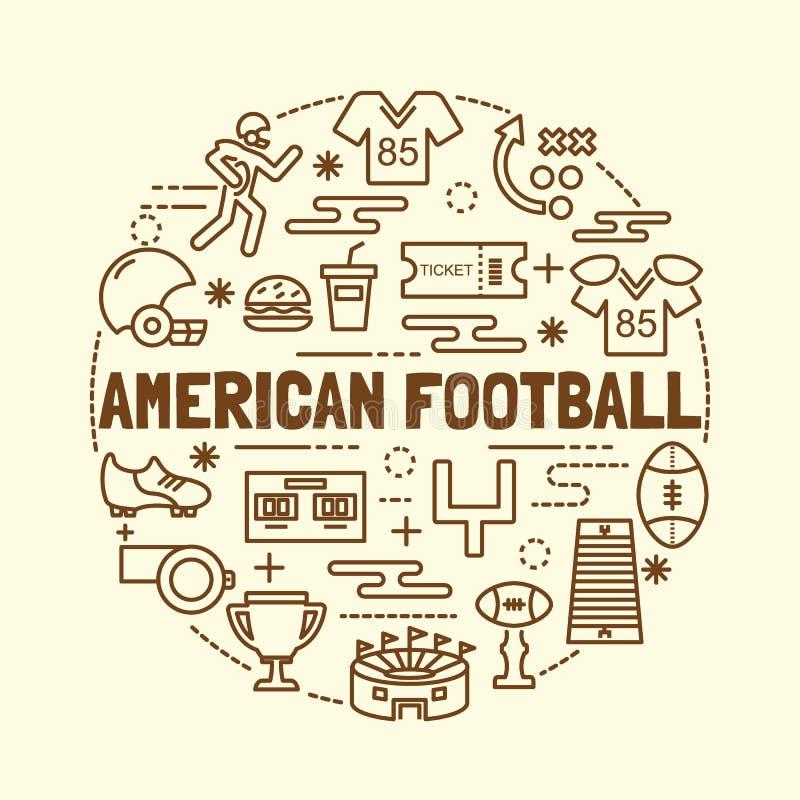 橄榄球最小的稀薄的线被设置的象 向量例证
