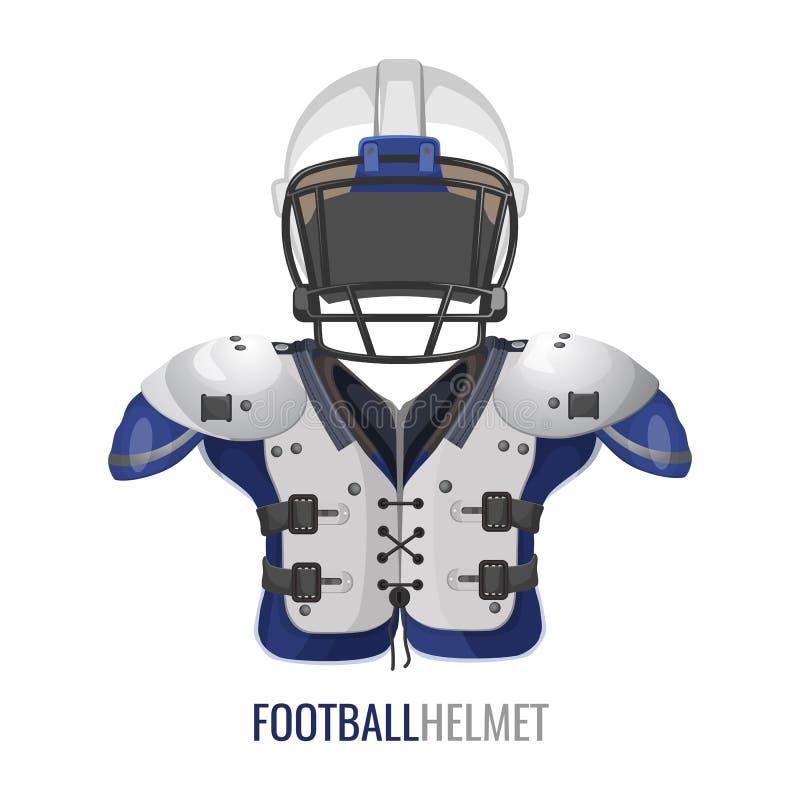 橄榄球服装元素动画片传染媒介情报海报 库存例证